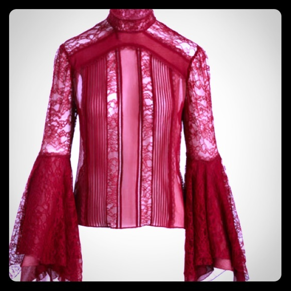 alice+olivia Tops - Alice + Olivia Ivy Handkerchief Lace Top